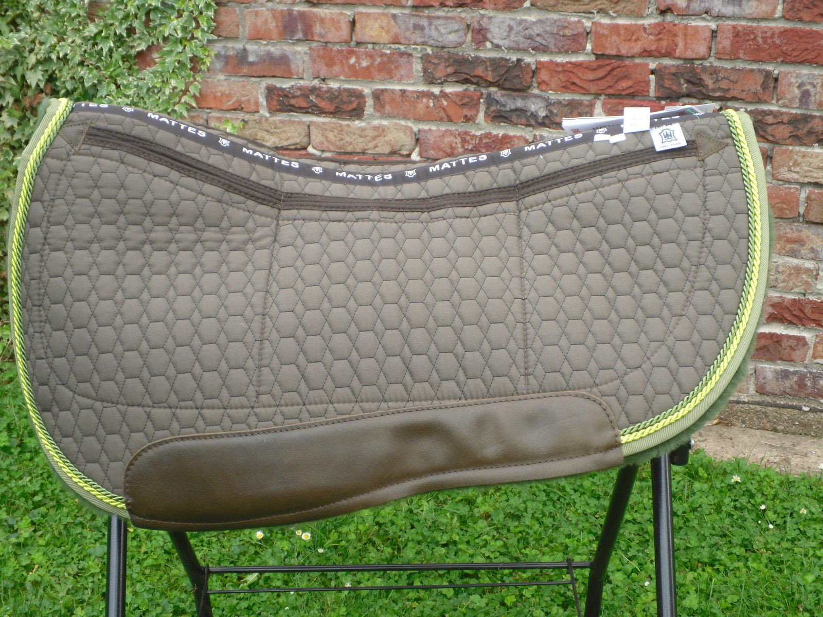 Correction Westernpad Mattes Round RIO PECOS Stoff taupe Fell olive 2 K 70cm