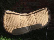 Correction Westernpad 70 cm Round Pad 3 Taschen Stoff sand Lammfell braun