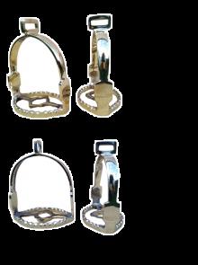 Barocksteigbügel / Academics- spanische Steigbügel Messing oder Chrom 90° gedreht