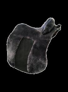 Lammfell Zalea für Deuber Sattel El Campo Farbe anthrazit mit schwarzem Ledereinsatz