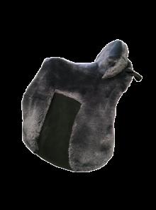 Lammfell Zalea für Deuber Sattel El Campo shorty Farbe anthrazit mit schwarzem Ledereinsatz