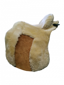 Lammfell Zalea für Deuber Sattel El Campo Farbe teddy mit braunem Ledereinsatz