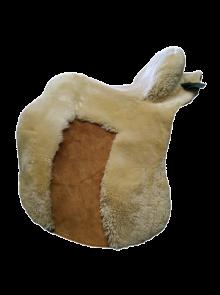 Lammfell Zalea für Deuber Sattel El Campo shorty Farbe teddy mit braunem Ledereinsatz