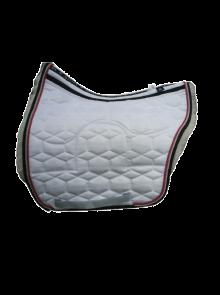 Spanische Satteldecke mit Correction-Taschen Gr M Samt weiß Fell weiß 2 Kordeln