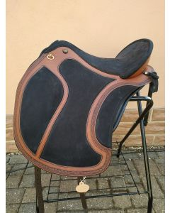 El Campo SKL shorty VSK S2 Deuber & Partner Sattel Chestnut mit Antique Finish Schwarz Nubuk  Messing B58521