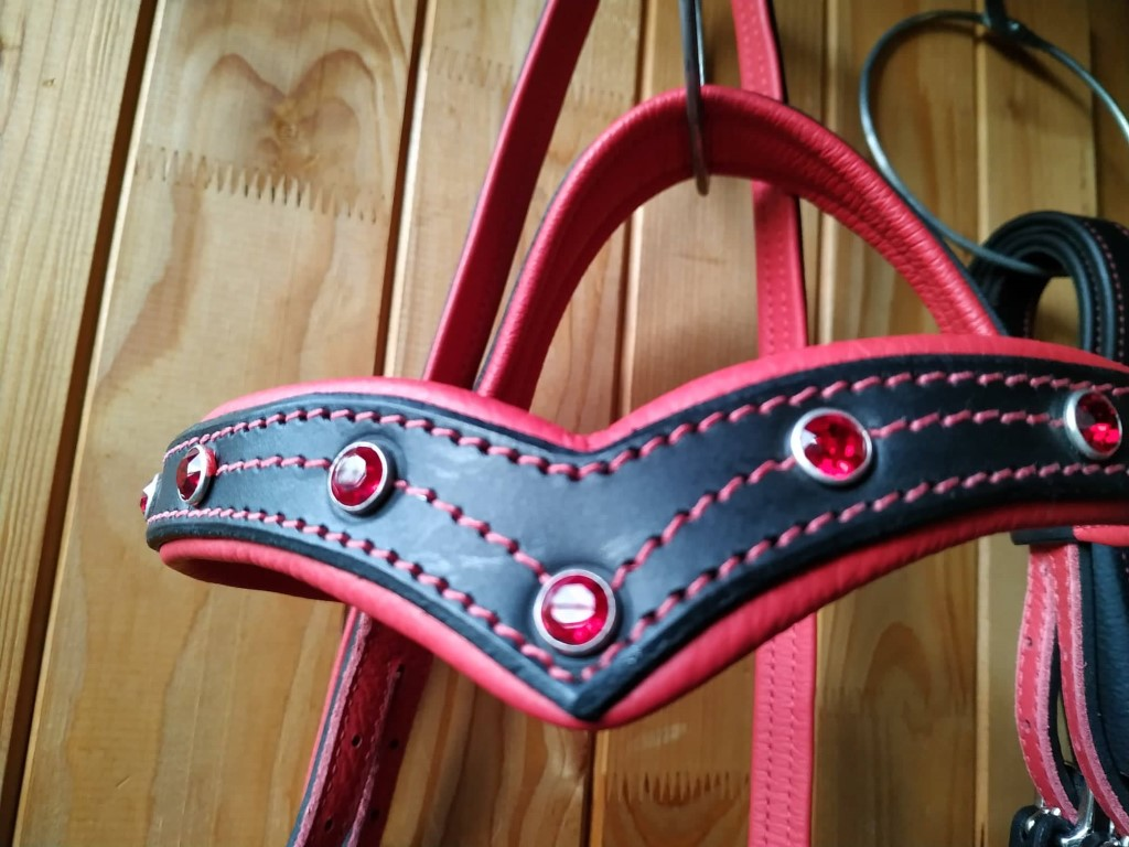Deuber Softfeel Kopfstück mit rotem Leder und Strass